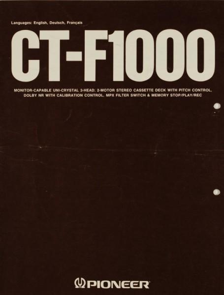 Pioneer CT-F 1000 Prospekt / Katalog