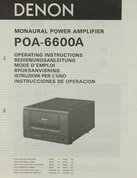 Denon POA-6600 A Bedienungsanleitung