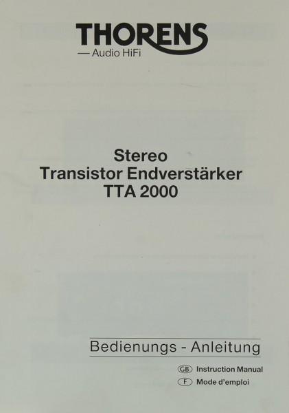 Thorens TTA 2000 Bedienungsanleitung