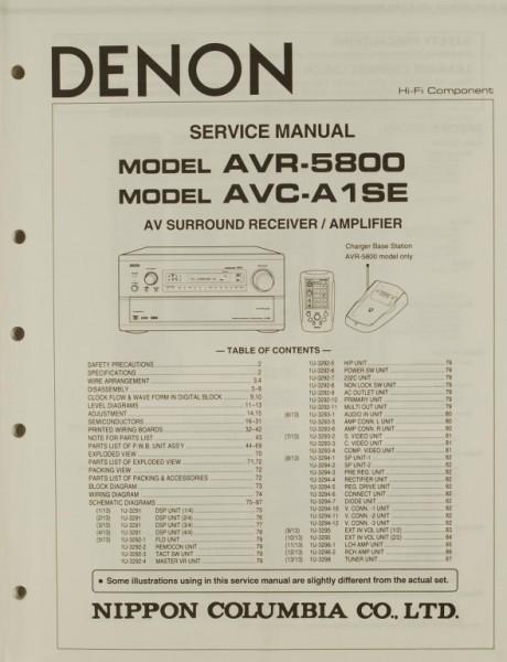 Denon AVR-5800 / AVC-A 1 SE Schaltplan / Serviceunterlagen