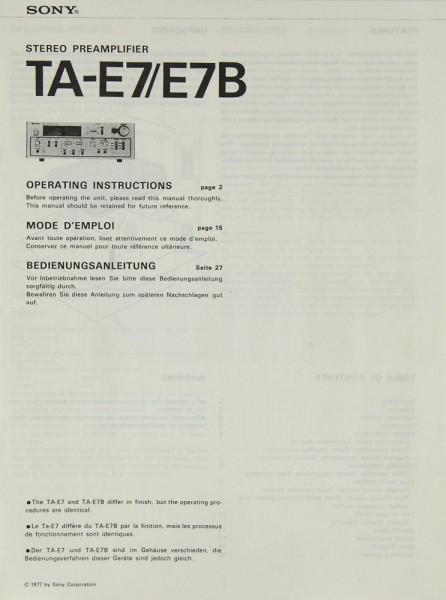 Sony TA-E 7 / E 7 B Bedienungsanleitung