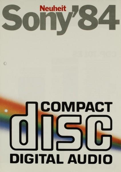 Sony Sony ´84 - Compact Disc Digital Audio Prospekt / Katalog