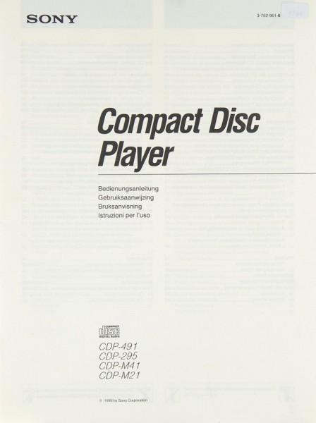 Sony CDP-491 / CDP-295 / CDP-M 41 / CDP-M 21 Bedienungsanleitung