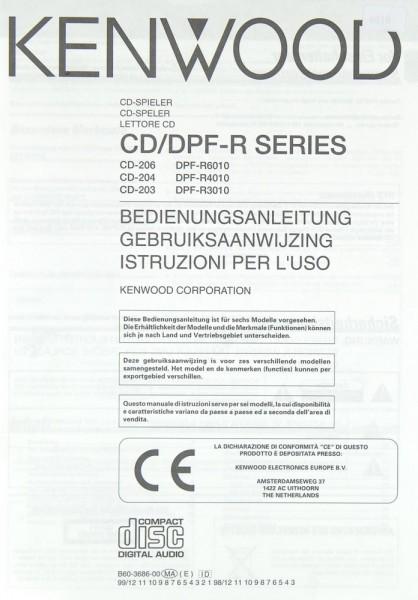 Kenwood CD-206 / 204 / 203 / DPF-R 6010 / 4010 / 3010 Bedienungsanleitung
