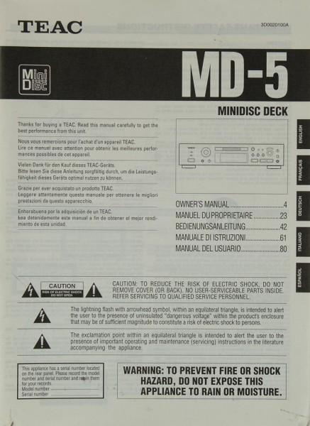 Teac MD-5 Bedienungsanleitung
