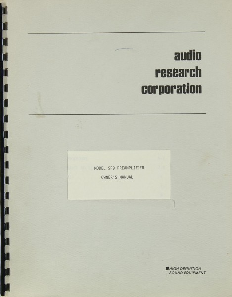 Audio Research Model SP 9 Bedienungsanleitung