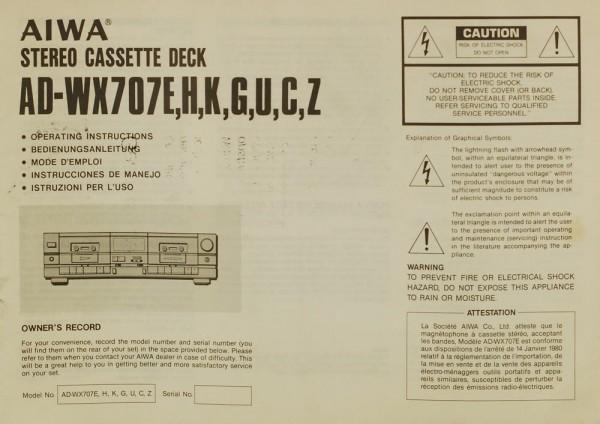 Aiwa AD-WX 707 E, H, K, G, U, C, Z Bedienungsanleitung