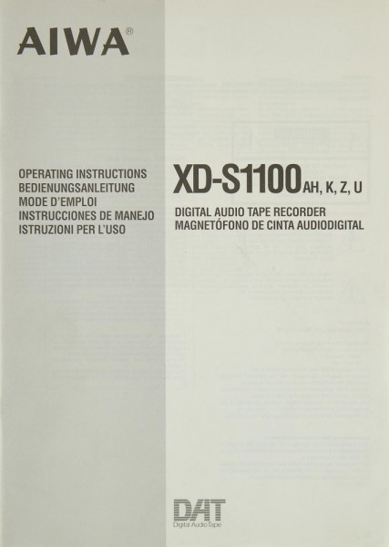 Aiwa XD-S 1100 AH, K, Z, U Bedienungsanleitung