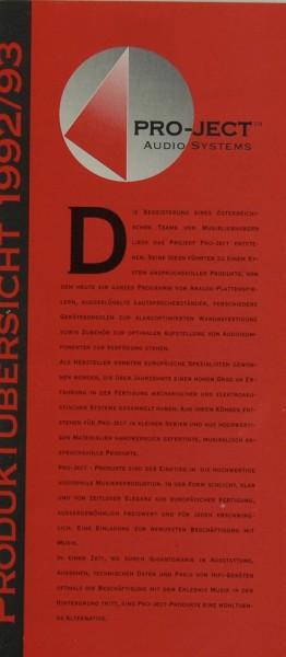 Pro-Ject Produktübersicht 1992/93 Prospekt / Katalog