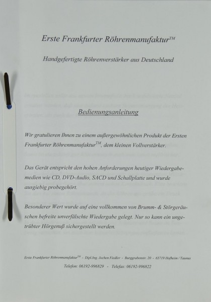 Erste Frankfurter Röhrenmanufaktur Kleiner Vollverstärker Bedienungsanleitung