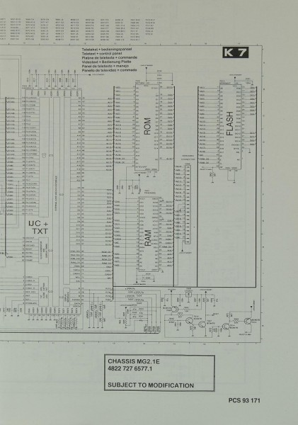 Philips Chassis MG 2.1 E Schaltplan / Serviceunterlagen