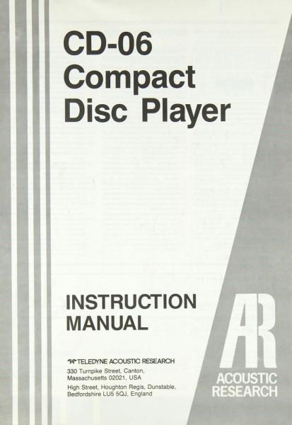 Acoustic Research CD-06 Bedienungsanleitung