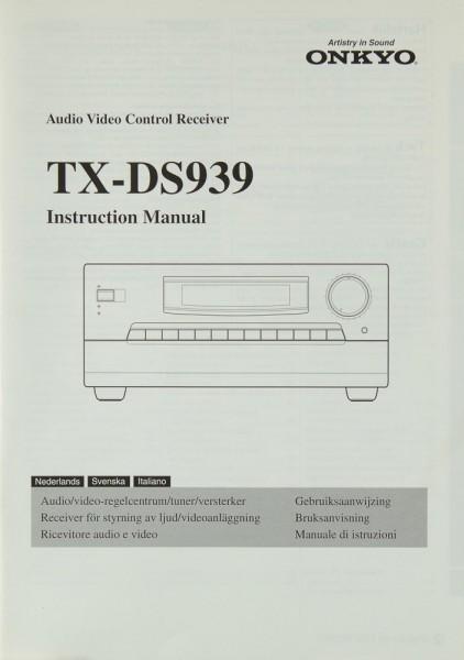 Onkyo TX-DS 939 Bedienungsanleitung