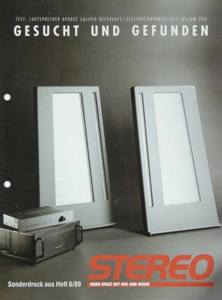 Apogee / Electrocompaniet Stereo Sonderdruck 6 / 89 Test Lautsprecher Testnachdruck