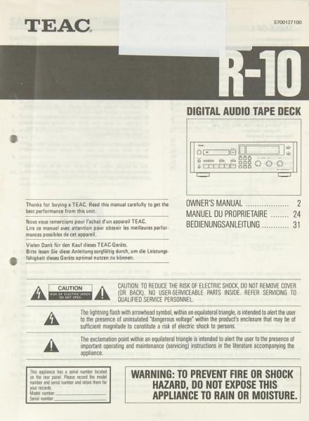 Teac R-10 Bedienungsanleitung