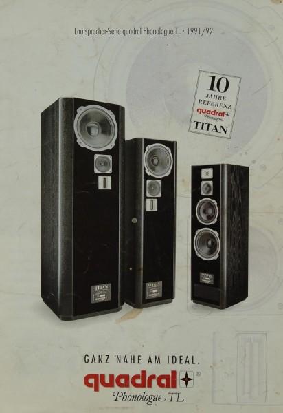 Quadral Phonologue TL / 1991/92 Prospekt / Katalog