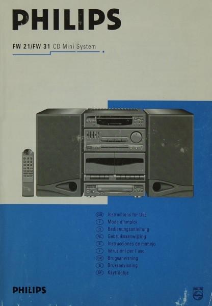 Philips FW 21 / FW 31 Bedienungsanleitung