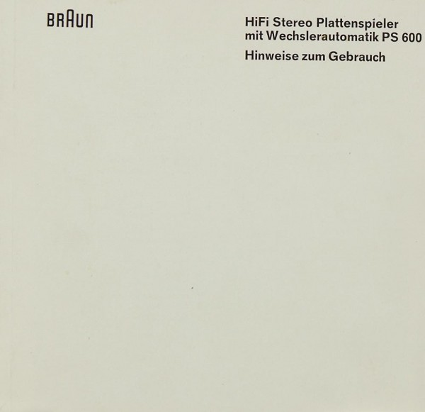 Braun PS 600 Bedienungsanleitung