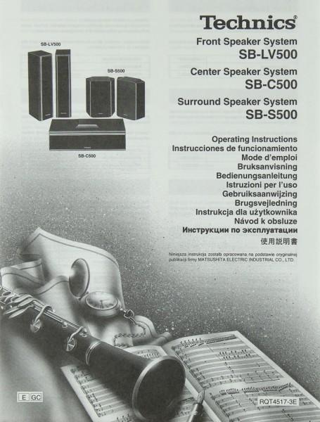 Technics SB-LV 500 / SB-C 500 / SB-S 500 Bedienungsanleitung