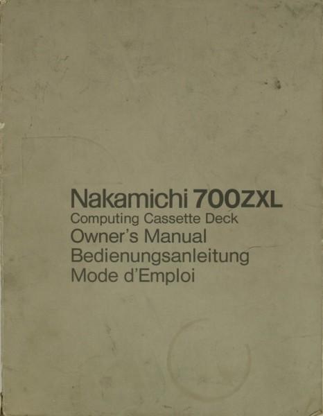 Nakamichi 700 ZXL Bedienungsanleitung