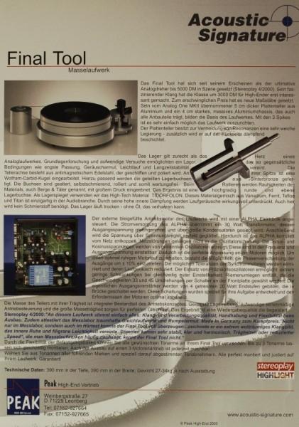 Acoustic Signature Final Tool Prospekt / Katalog