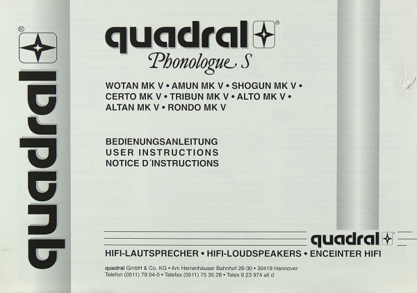 Quadral Phonologue S Bedienungsanleitung