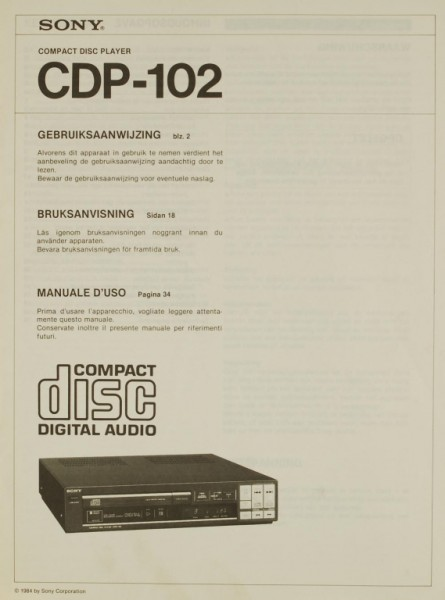 Sony CDP-102 Bedienungsanleitung