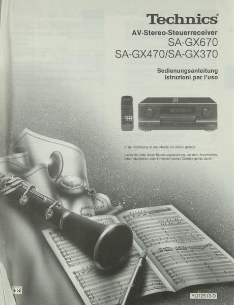 Technics SA-GX 670 / SA-GX 470 / SA-GX 370 Bedienungsanleitung