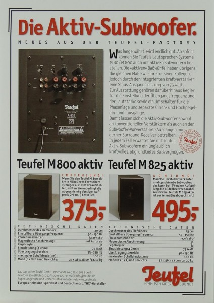 Teufel M 800 aktiv / M 825 aktiv Prospekt / Katalog