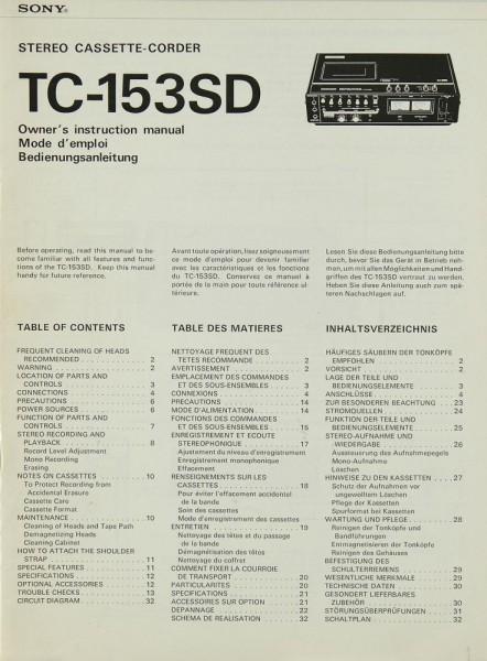 Sony TC-153 SD Bedienungsanleitung