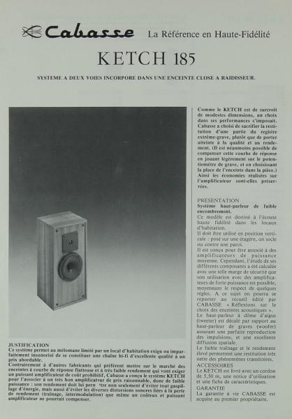 Cabasse Ketch 185 Prospekt / Katalog