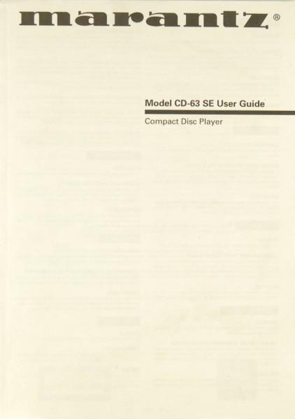Marantz CD-63 SE Bedienungsanleitung