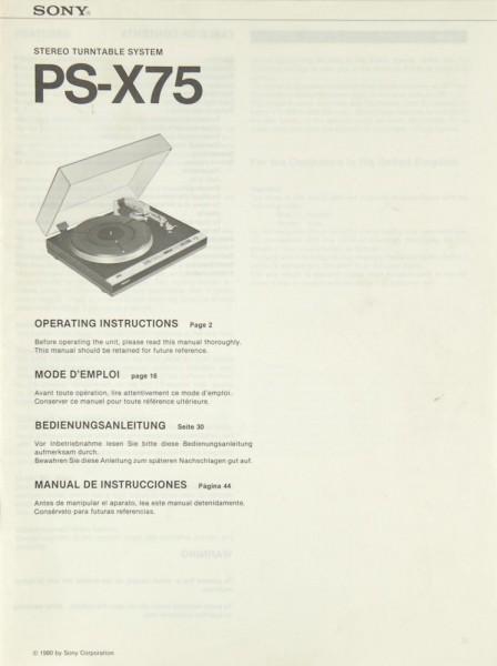 Sony PS-X 75 Bedienungsanleitung
