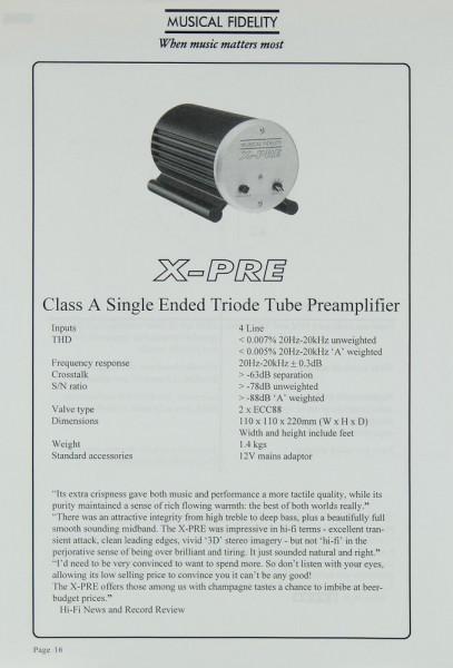 Musical Fidelity X-Pre Prospekt / Katalog