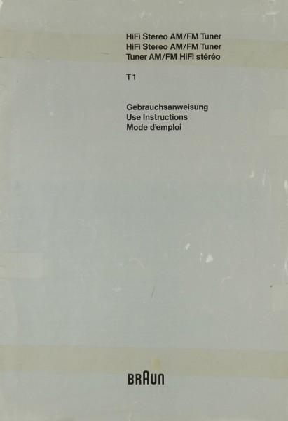 Braun T 1 Bedienungsanleitung