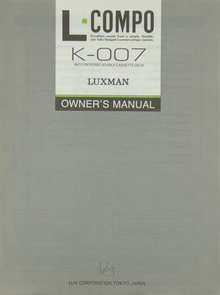 Luxman K-007 Bedienungsanleitung
