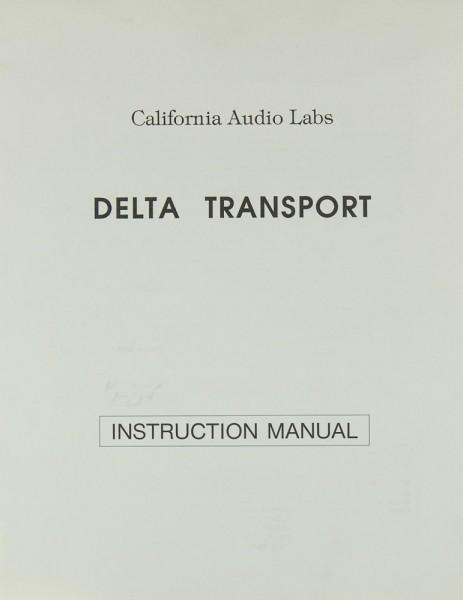 California Audio Labs Delta Transport Bedienungsanleitung