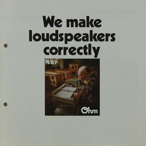Ohm We make loudspeakers correctly Prospekt / Katalog