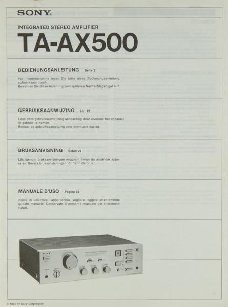 Sony TA-AX 500 Bedienungsanleitung