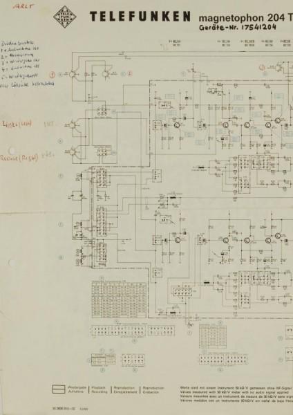 Telefunken Magnetophon 204 TSE 4 / TS Ska Schaltplan / Serviceunterlagen