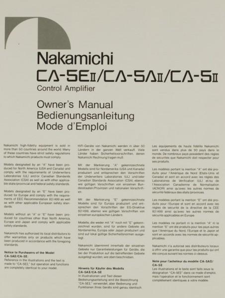 Nakamichi CA-5E II / CA-5A II / CA-5 II Bedienungsanleitung