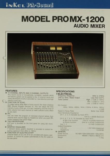 Inkel PA-Sound Model PRO MX-1200 Prospekt / Katalog