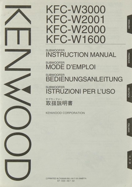 Kenwood KFC- W 3000 / 2001 / 2000 / 1600 Bedienungsanleitung