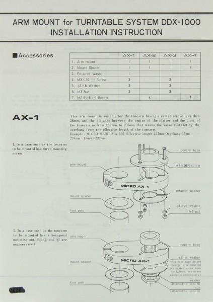 Micro Seiki AX-1 / AX-2 / AX-3 / AX-4 Bedienungsanleitung