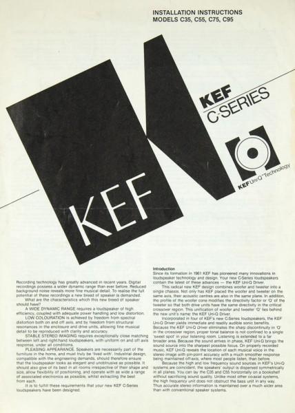 Kef C-Serie Bedienungsanleitung