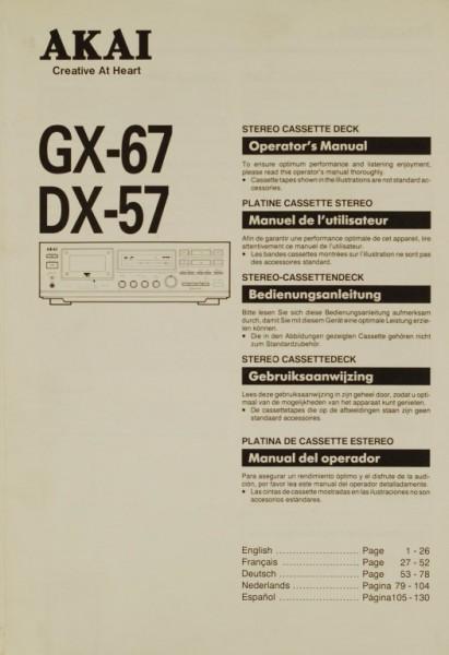 Akai GX-67 / DX-57 Bedienungsanleitung