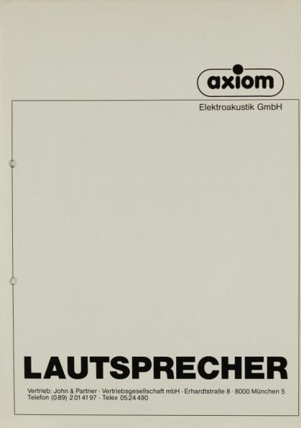 Axiom Axiom Lautsprecher Prospekt / Katalog