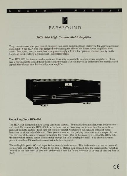 Parasound HCA-806 Bedienungsanleitung