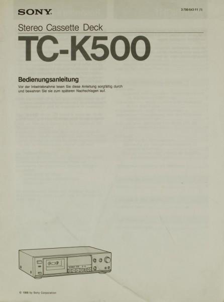 Sony TC-K 500 Bedienungsanleitung
