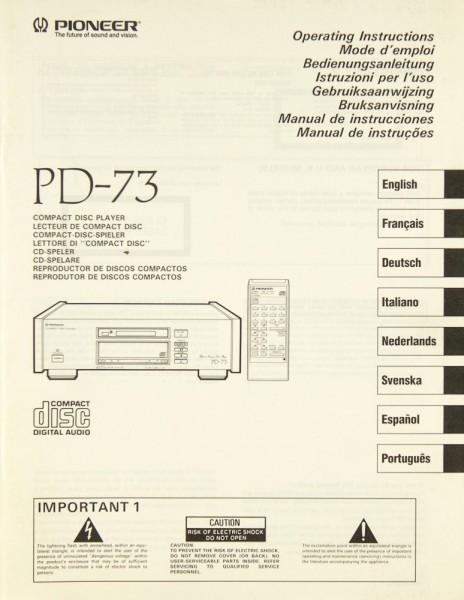 Pioneer PD-73 Bedienungsanleitung